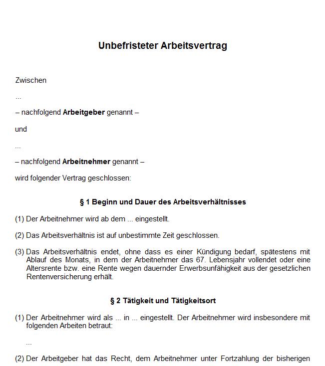 Existenzgründungs Handbuch Von A Z Arbeitsvertrag