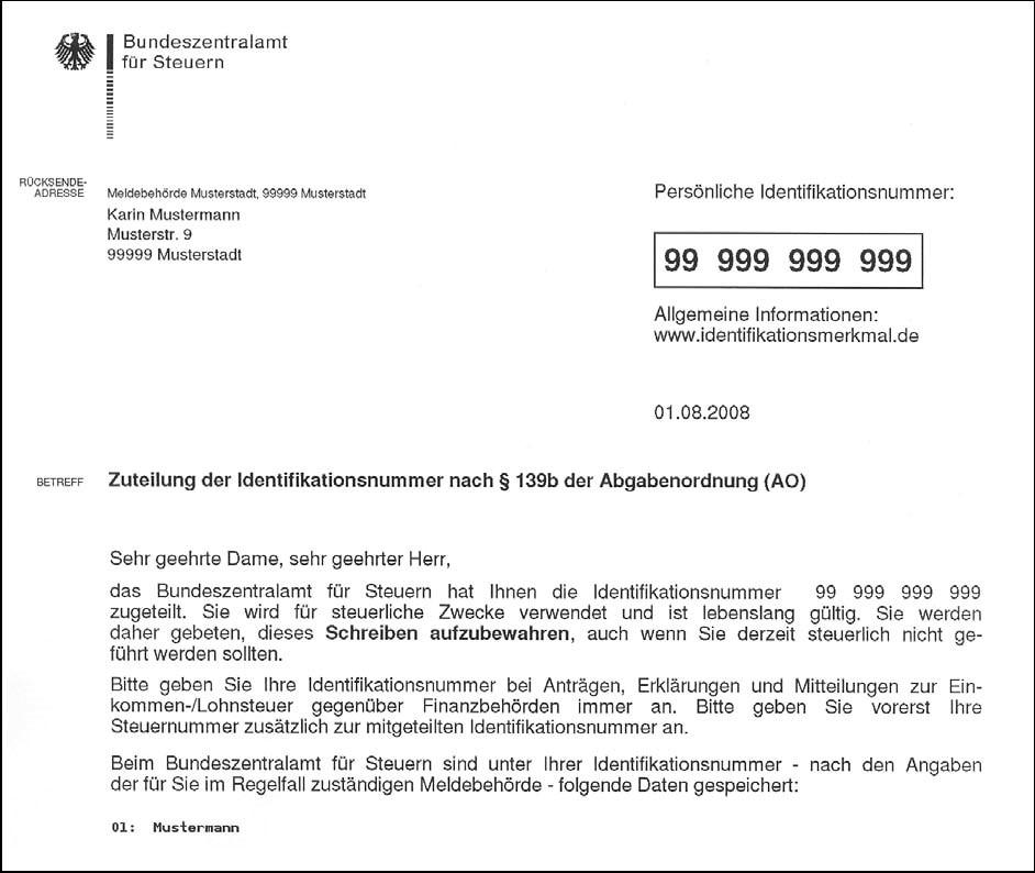 Zuteilung einer Identifikationsnummer vom Finanzamt