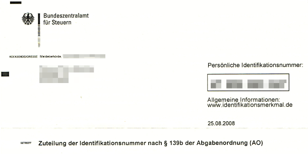Die steuerliche Identifikationsnummer vom Finanzamt