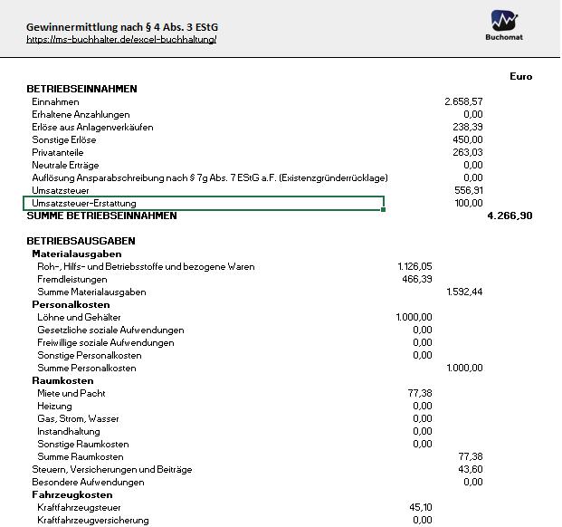 Excel Vorlage Buchhaltung