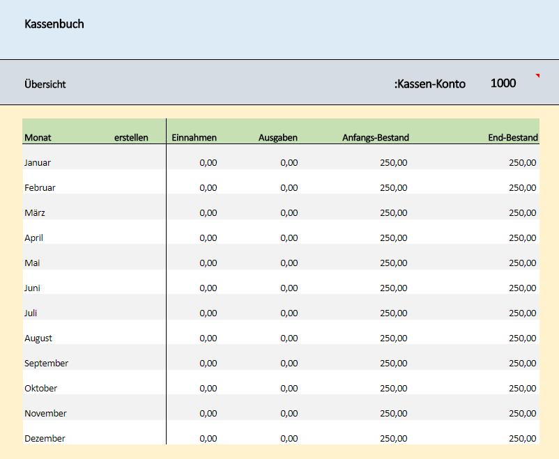 Kostenloses Kassenbuch Excel Vorlage