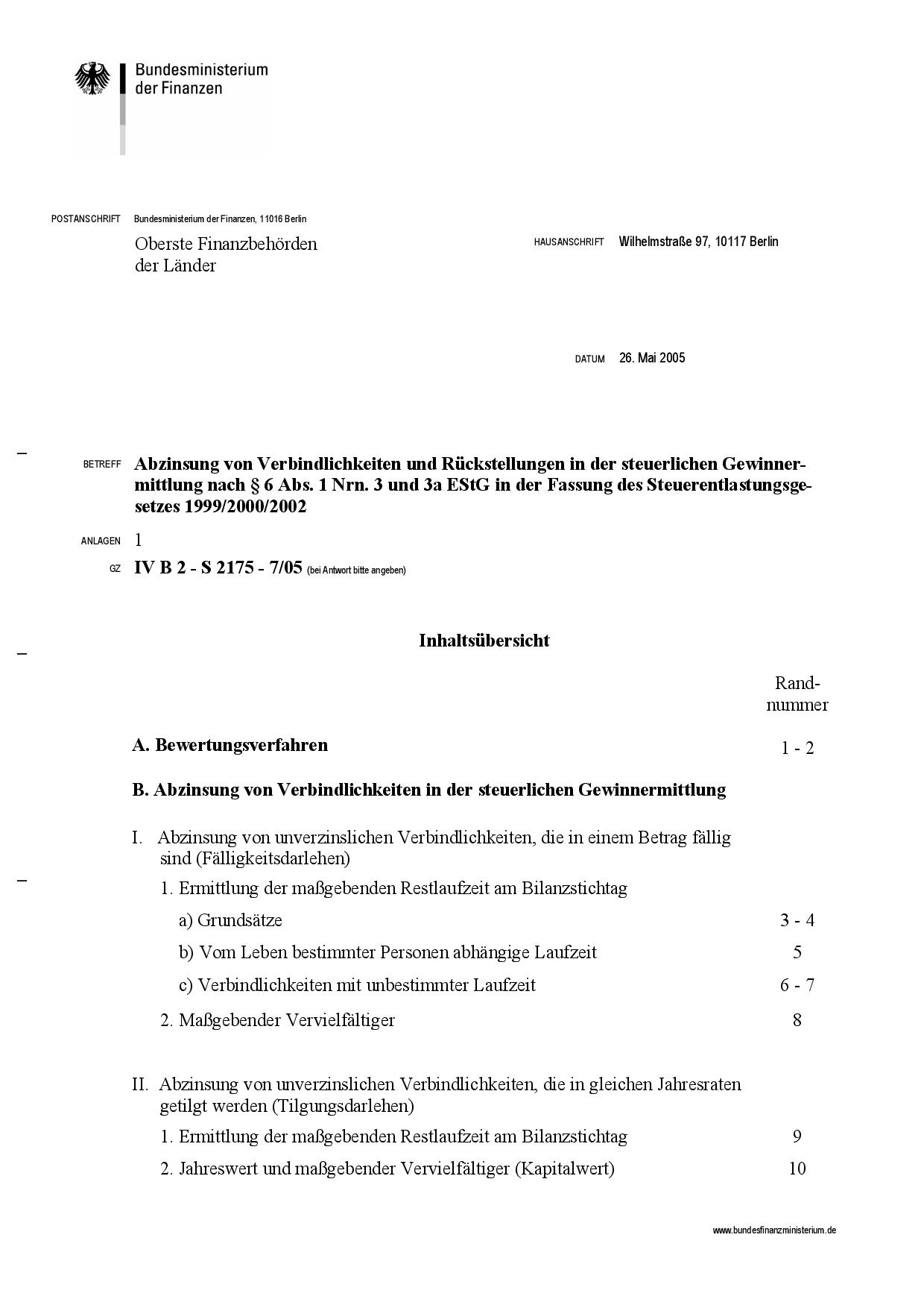 Abzinsung von Verbindlichkeiten und Rückstellungen in der steuerlichen Gewinnermittlung nach § 6 ABS. 1 NRN. 3 und 3a ESTG in der Fassung des Steuerentlastungsgesetzes 1999/2000/2002