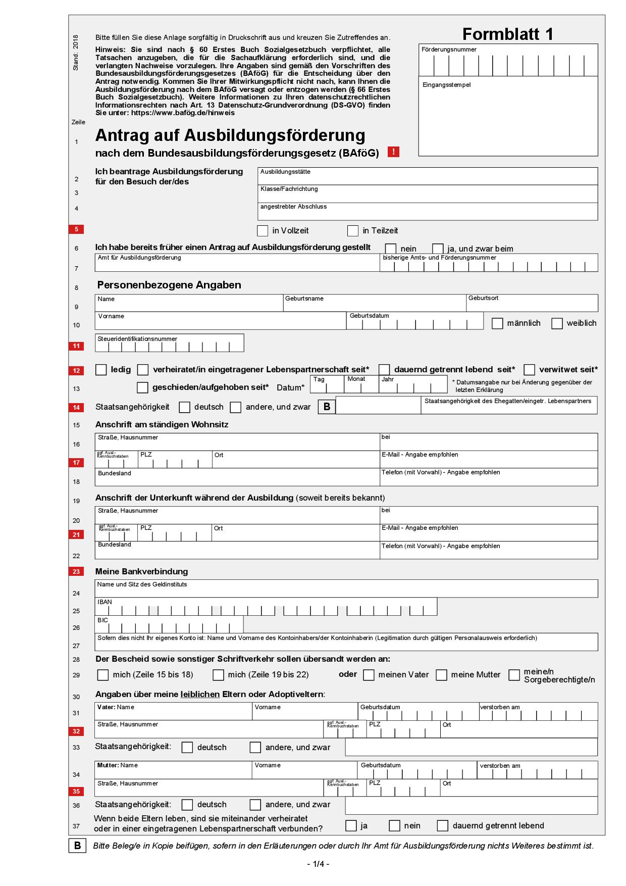 BAfoeG Antrag online + Formblätter