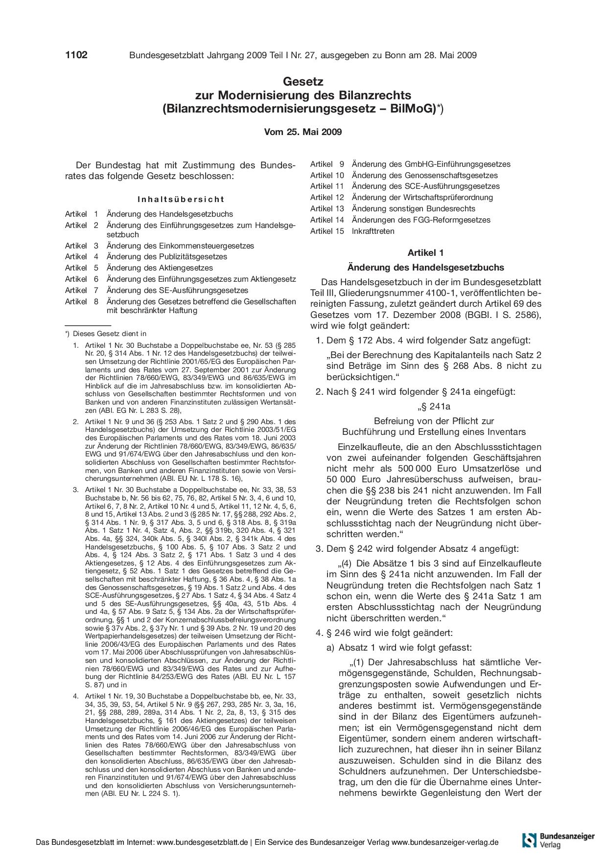 Bilanzrechtsmodernisierungsgesetz (BilMoG) PDF