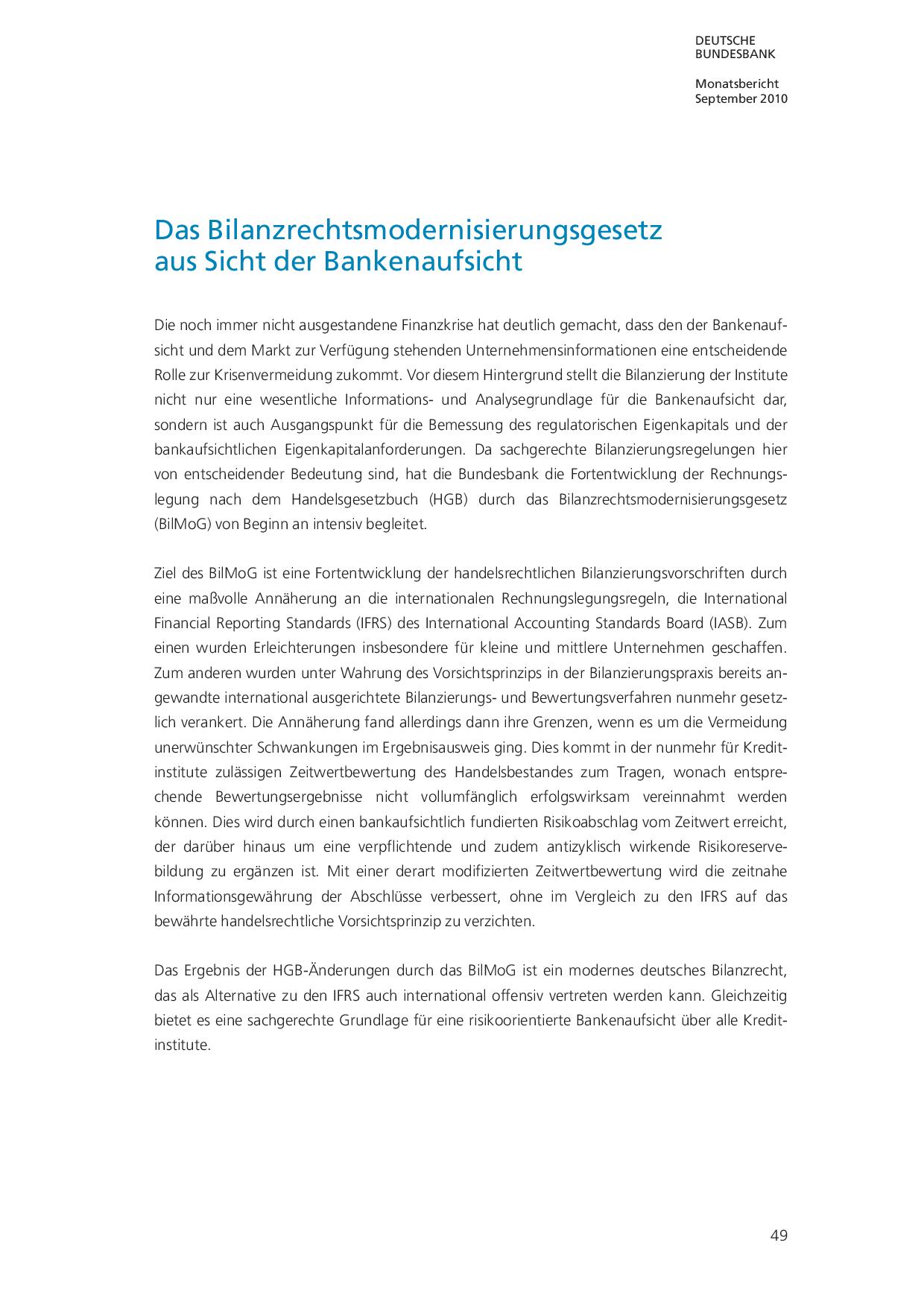 Was ist Bilanzrechtsmodernisierungsgesetz (BilMoG)? Zielsetzung