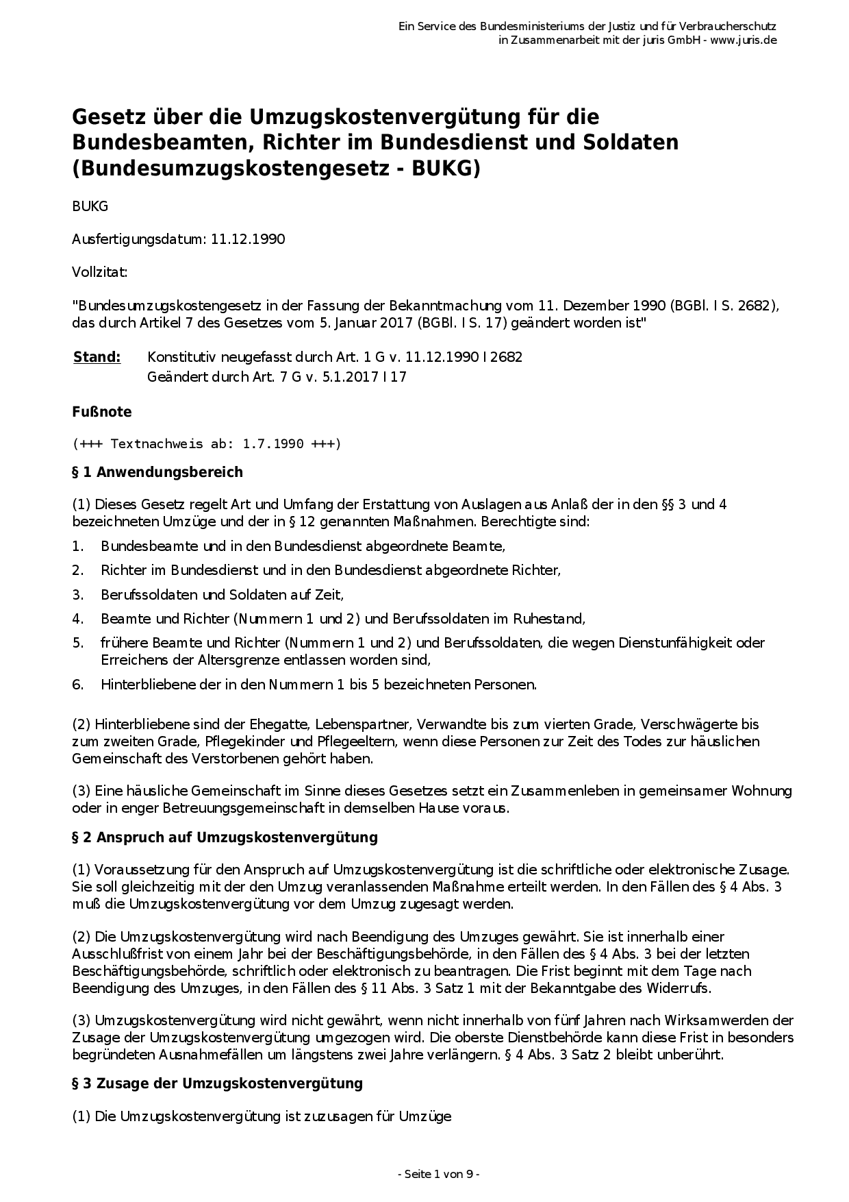 Bundesumzugskostengesetz