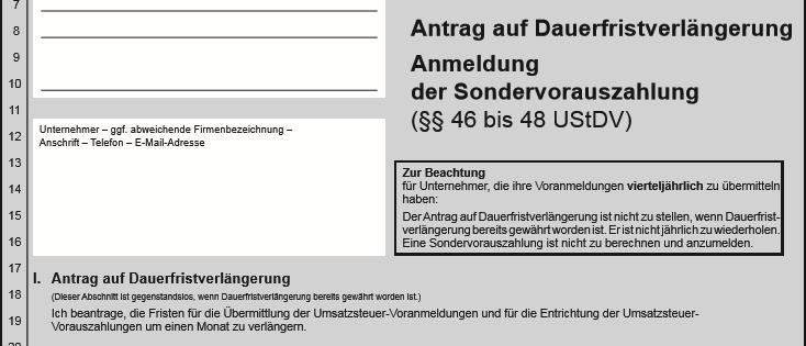 Dauerfristverlängerung online abgeben + Sondervorauszahlung berechnen.