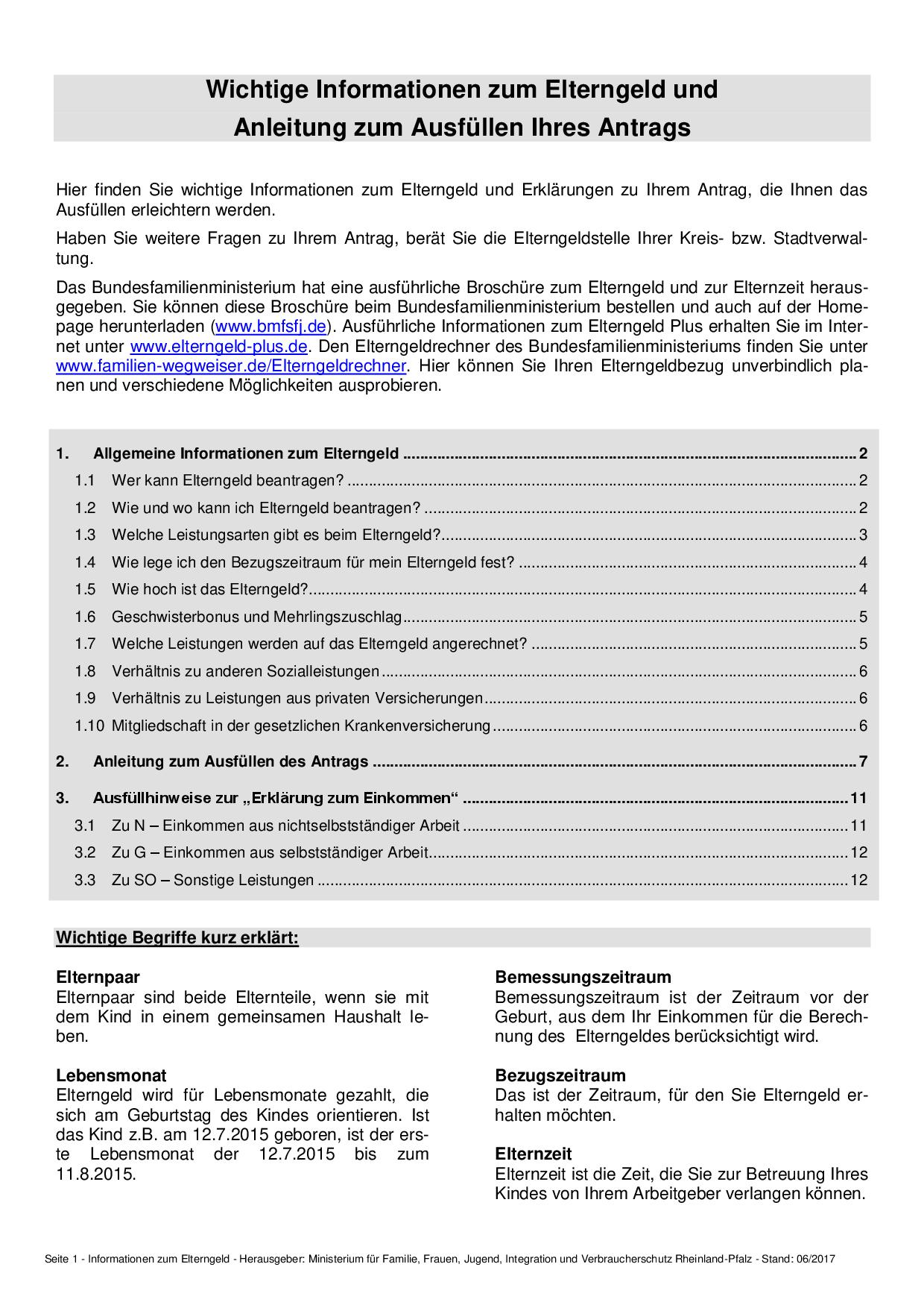 Wichtige Informationen zum Elterngeld und Anleitung zum Ausfüllen Ihres Antrags