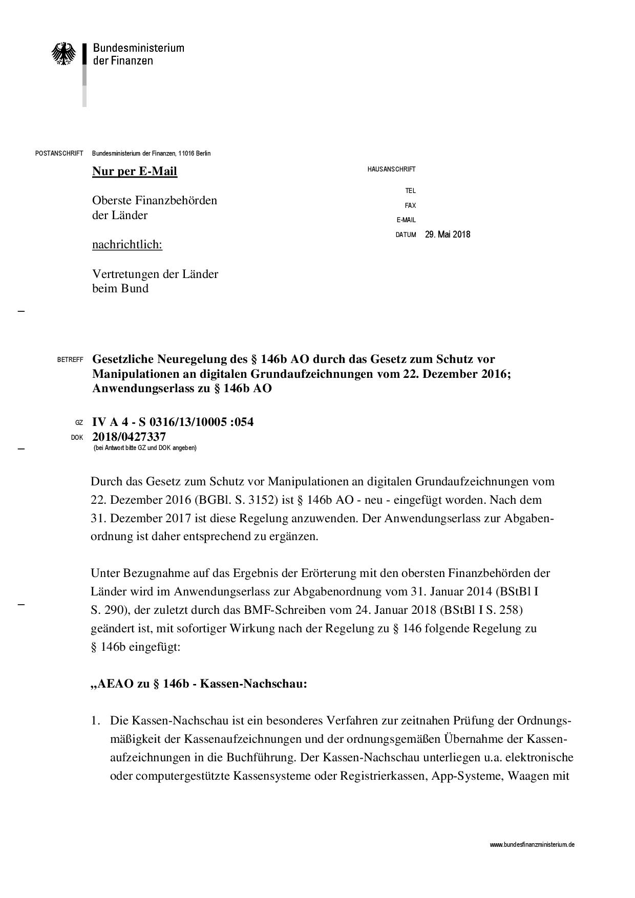 Gesetzliche Neuregelung des § 146b AO durch das Gesetz zum Schutz vor Manipulationen an digitalen Grundaufzeichnungen vom 22. Dezember 2016; Anwendungserlass zu § 146b AO
