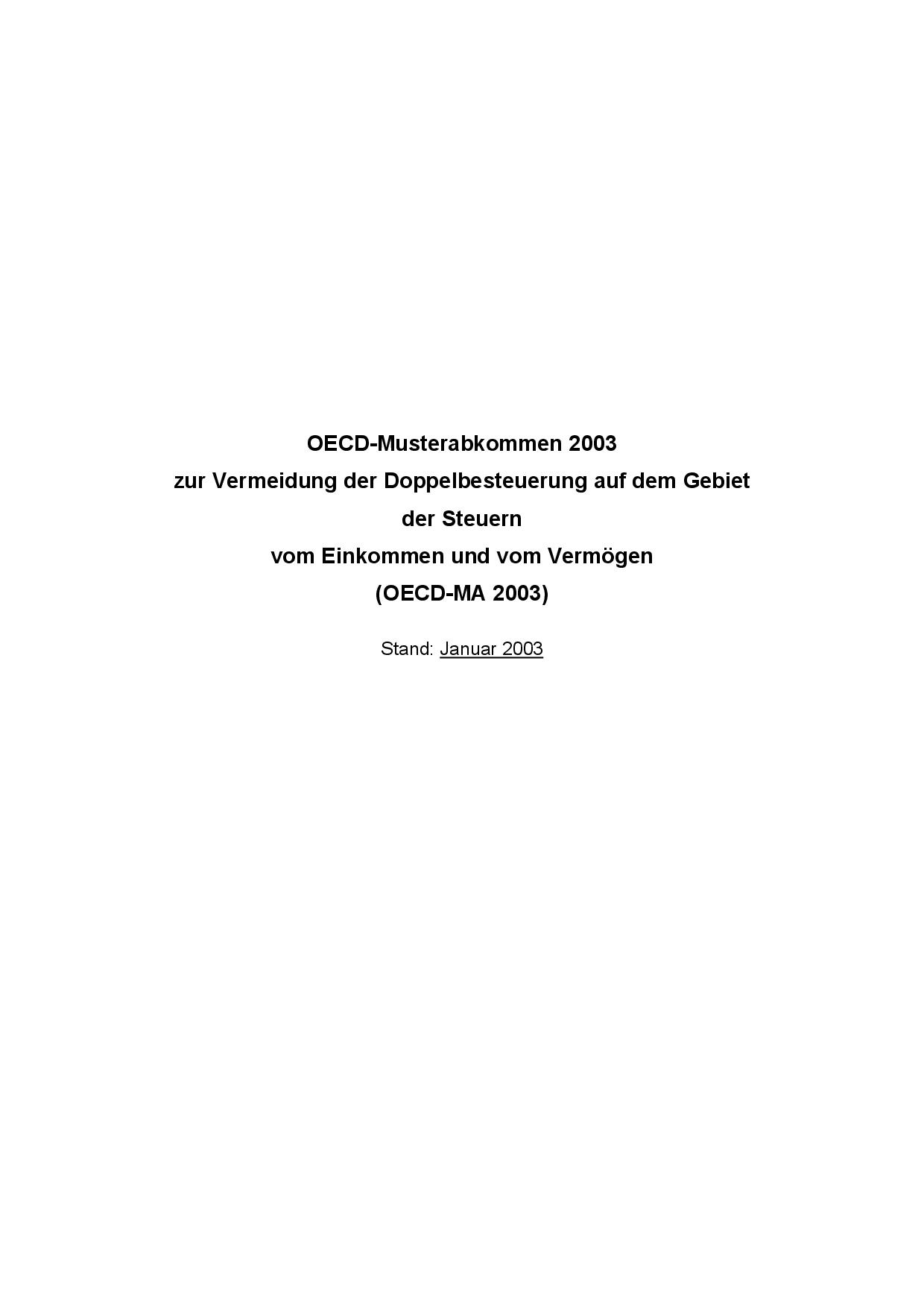 OECD-Musterabkommen zur Vermeidung der Doppelbesteuerung auf dem Gebiet der Steuern vom Einkommen und vom Vermögen (OECD-MA)