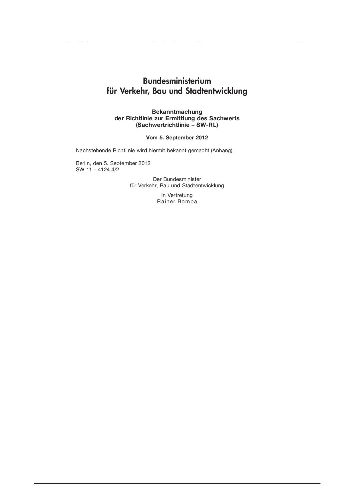 Richtlinie zur Ermittlung des Sachwerts Sachwertrichtlinie – SW-RL