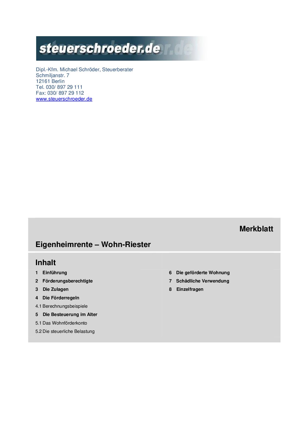 Wohn-Riester (Eigenheimrente)